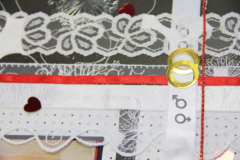 fotoalbum basteln-machen-hochzeitsalbum seite gestalten-hochzeitsbuch ideen- scrapbooking wedding -geschenkbaender-satinbaender bedruckt