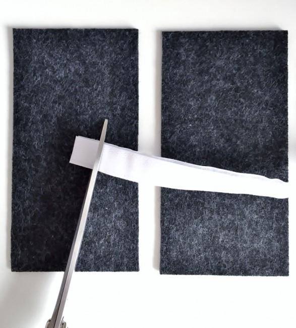Ein Stück Klettverschluss abschneiden
