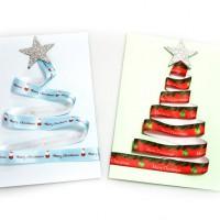 Schnell kreative Weihnachtskarten aus Stoffband basteln