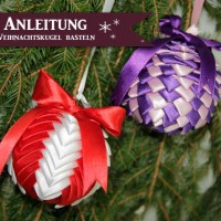 Anleitung: Weihnachtskugeln aus Stoffband