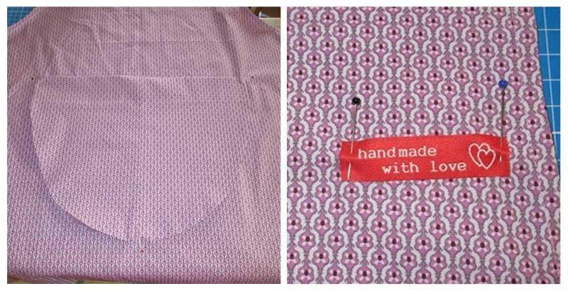 Tasche und Textiletikett auf Schürze aufnähen