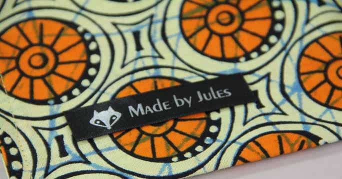 kuchentasche mit Textiletikett nähen