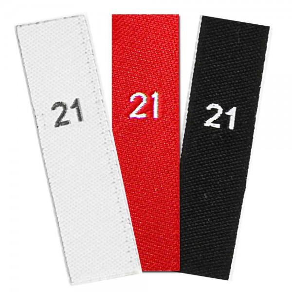 Gewebte Größenetiketten mit Zahl 21