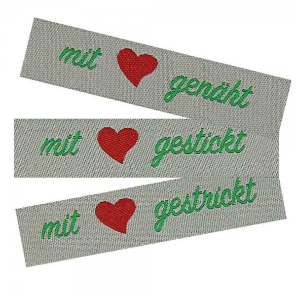 """Textiletiketten """"mit Liebe genäht, gestrickt, gestickt"""""""
