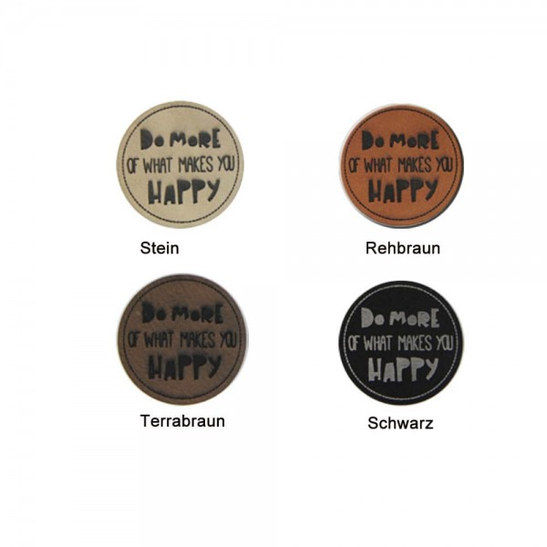 "PREMIUM Leather labels, with the inscription ""DO MORE OF WHAT MAKES YOU HAPPY"""