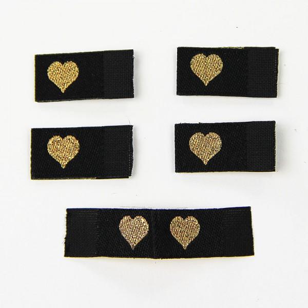 Fix&Fertig - Label with design heart black/gold - with taffeta