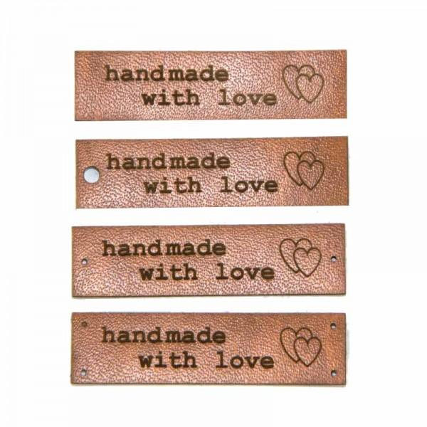 """Kunstleder-Etiketten """"handmade with love"""", Label"""