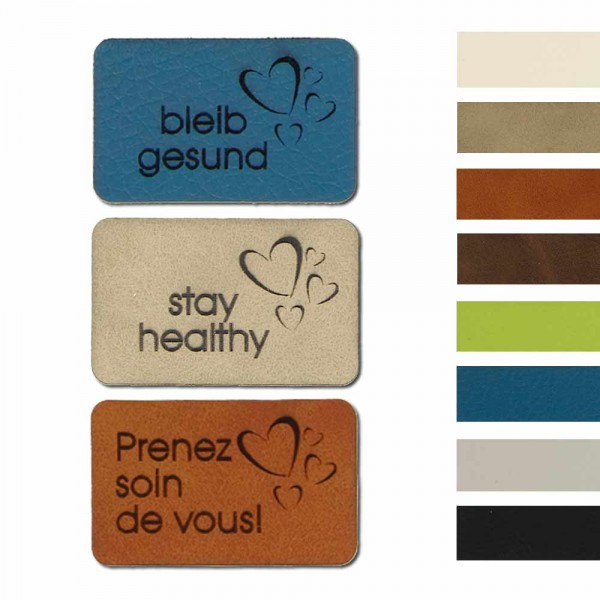 "Synthetic leather labels, with the inscription ""stay healthy"""