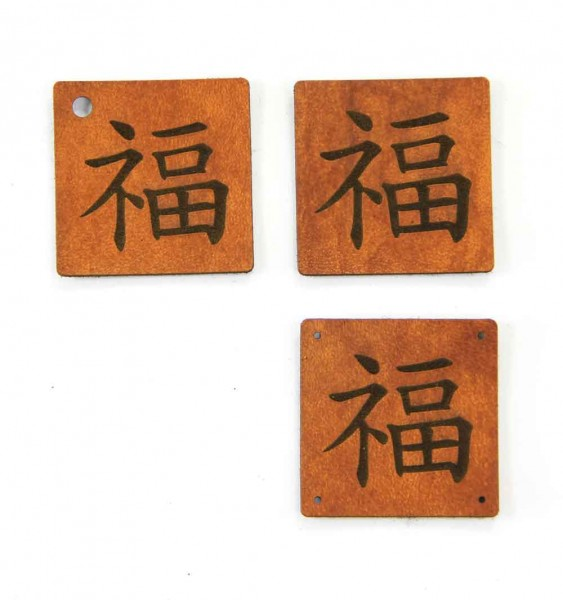 """Kunstleder-Etiketten """"Glück"""" - chinesisches Zeichen, Label"""