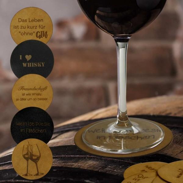 Glasuntersetzer Wein aus Leder - 6er-Set