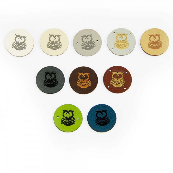 "Artificial leather labels ""owl"" - round"