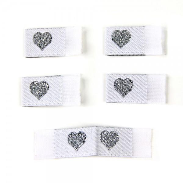 Fix&Fertig - Label with design heart white/silver - with taffeta