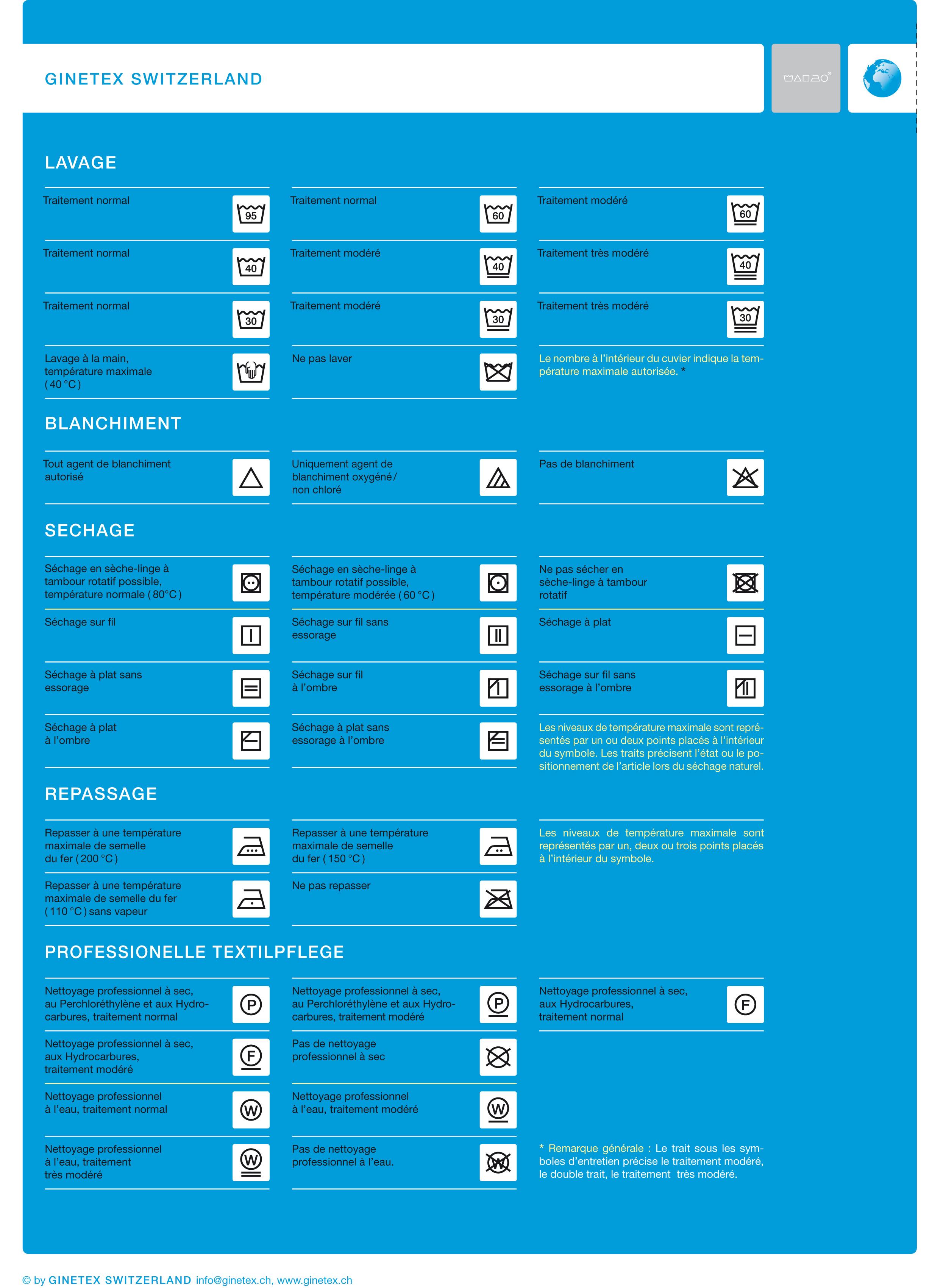 Célèbre Symboles d'entretien des textiles   namensbaender.de TX14