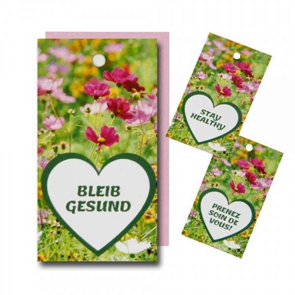"Hang tag ""STAY HEALTHY"" - flowers"