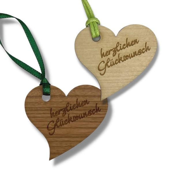 """Holz-Anhänger """"herzlichen Glückwunsch"""" geschwungenes Herz"""