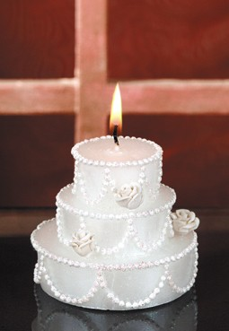 "Hochzeitskerze ""Torte"" - Angebot, Tischdeko Kerze"