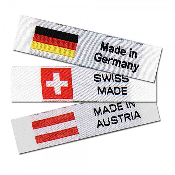 Textiletiketten Made in Germany, Austria, Swiss, Webetiketten