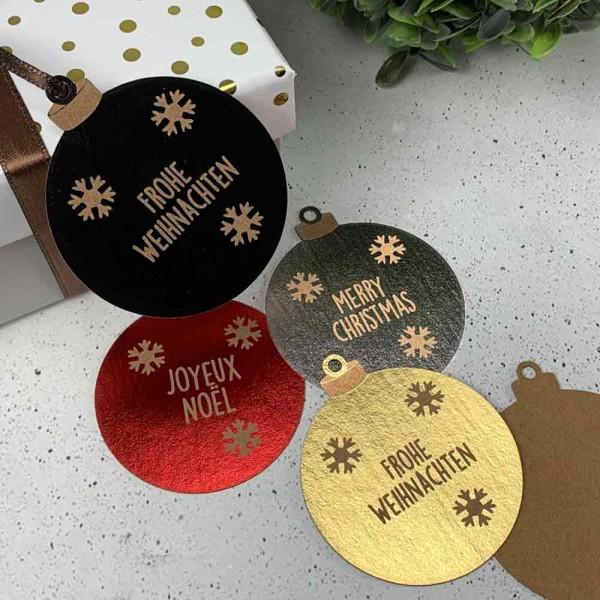 "Hangtag | Kartonetikett ""Frohe Weihnachten"" Kugel metallic"
