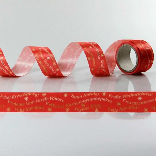 Satin-Geschenkband Frohe Weihnachten, Dekoband
