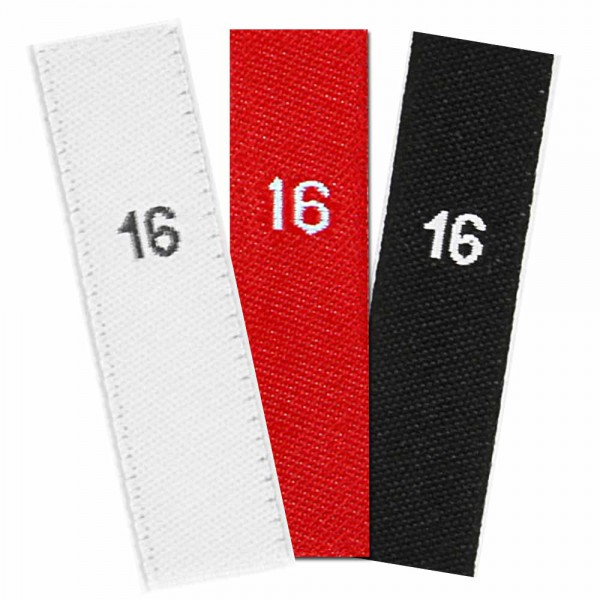 woven size labels - number 16