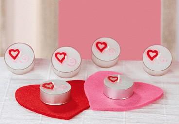 """Teelicht """"Herz"""" weiss/rot/pink- Angebot"""