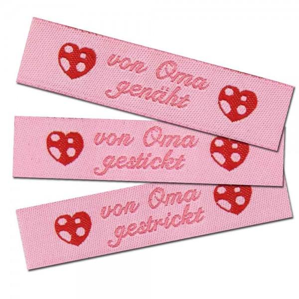 """Woven Label with design """"von Oma genäht, gestrickt oder gestickt"""""""