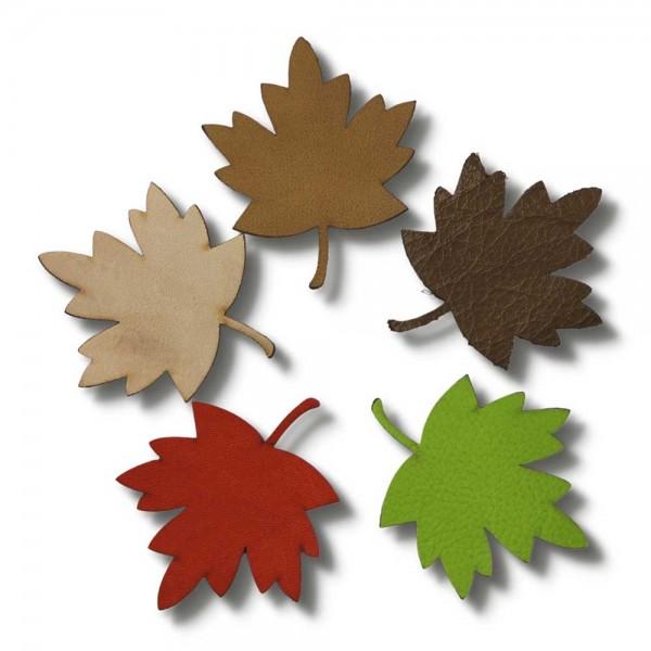 "leaf craft set ""autumn"" made of leather, 5-piece"