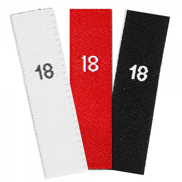 woven size labels - number 18