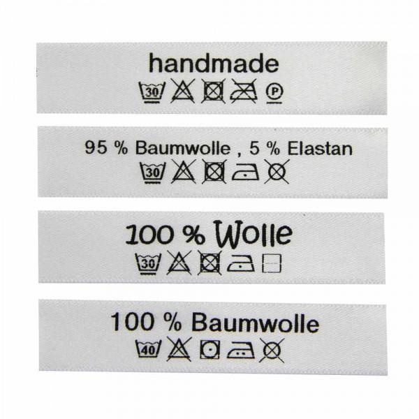 Pflegeetiketten mit Wasch- und Pflegesymbolen
