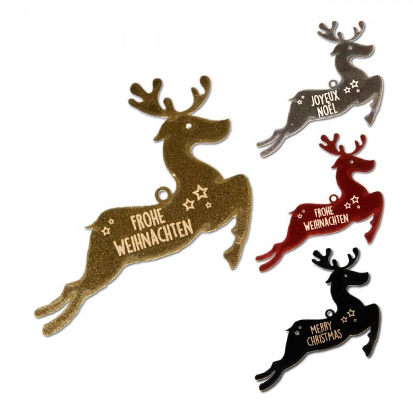 """Hang tag """"Merry Christmas"""" Reindeer - glossy"""