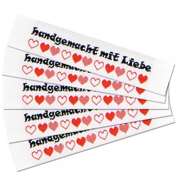 """Woven Label with design """"handgemacht mit Liebe"""""""