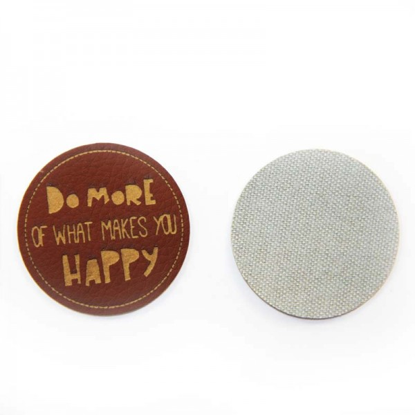 "Kunstleder-Etiketten ""Do More of What Makes You Happy"", rund"
