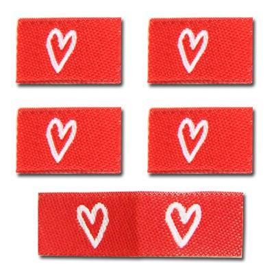 Fix&Fertig - Label with design heart red/white 2