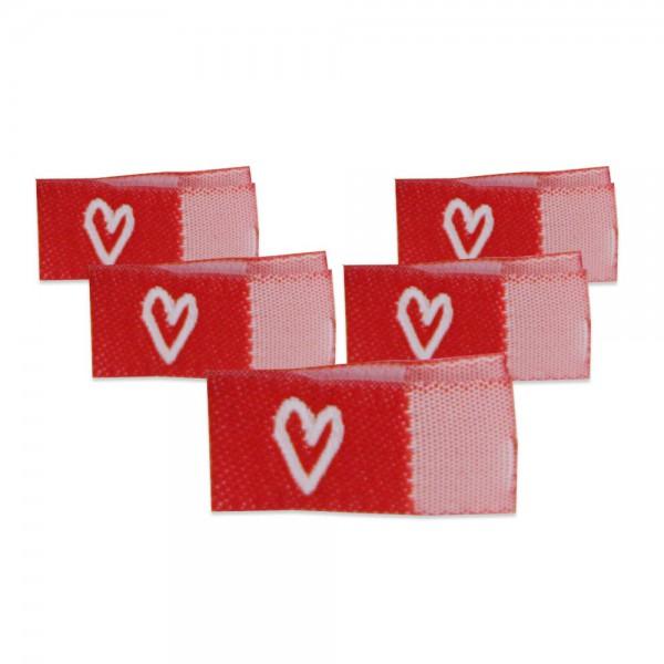 Fix&Fertig - Label with design heart red/white - with taffeta 2