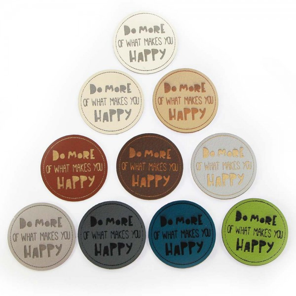 "Kunstleder-Etiketten ""DO MORE OF WHAT MAKES YOU HAPPY"", rund"