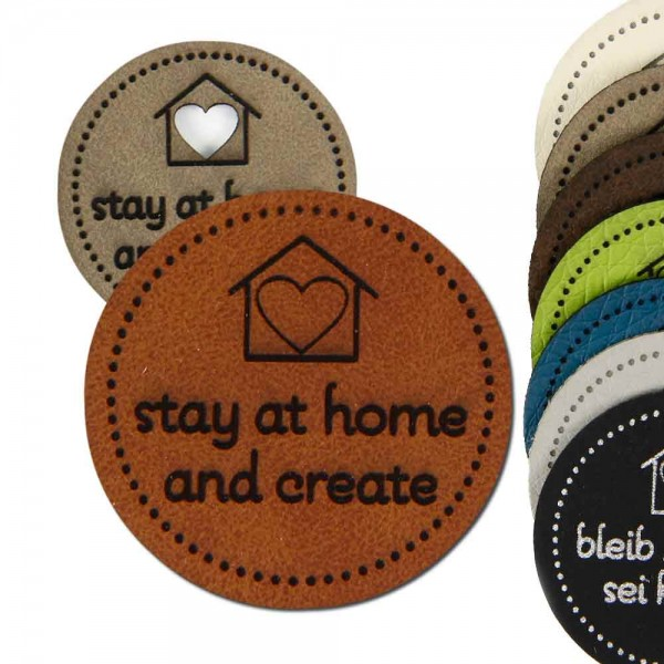 synthetic leather label; stay at home - and create