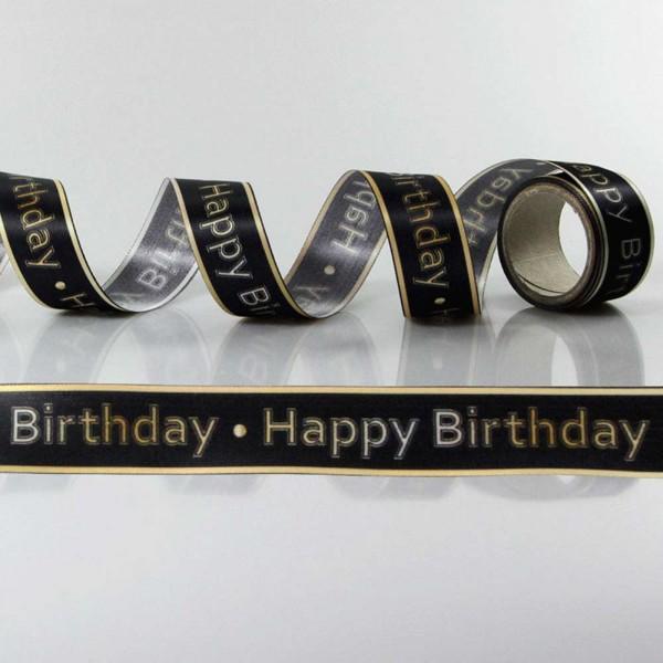 Satin-Geschenkband Happy Birthday