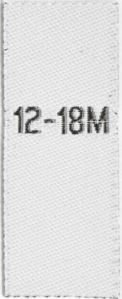 Größenetiketten für Kinder 12-18