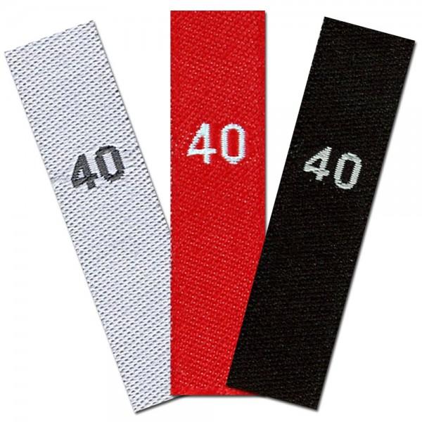 Gewebte Größenetiketten mit Zahl 40