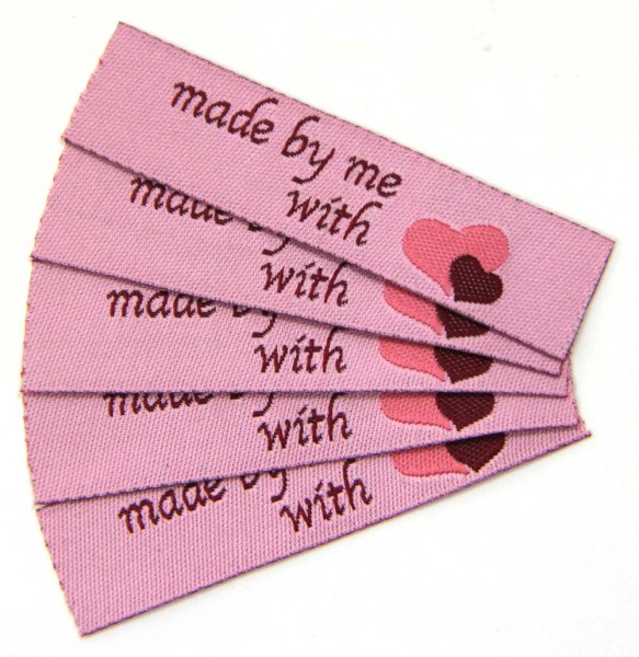 "Woven Label with design ""made by me with"" heart"