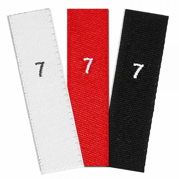 Gewebte Größenetiketten mit Zahl 7