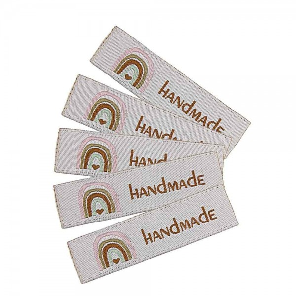 """Woven Label with design """"HANDMADE with rainbow"""""""