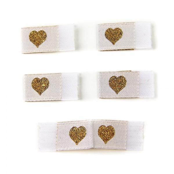 Fix&Fertig - Étiquette textile avec un cœur blanc/doré avec taffetas
