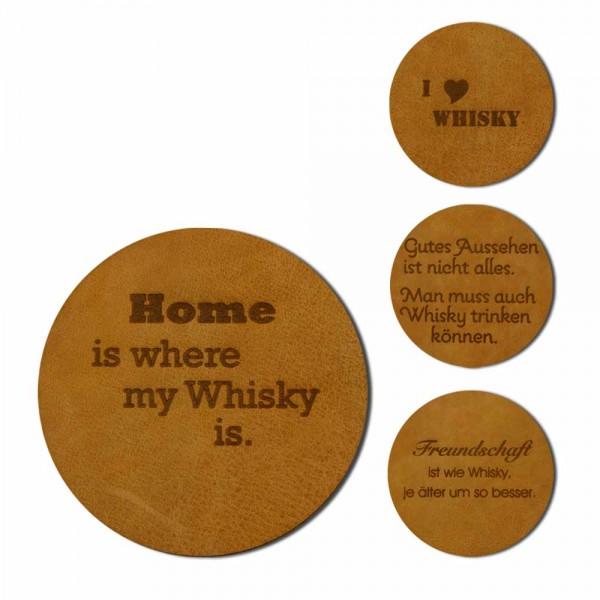 Glasuntersetzer Whisky aus Leder - 6er-Set