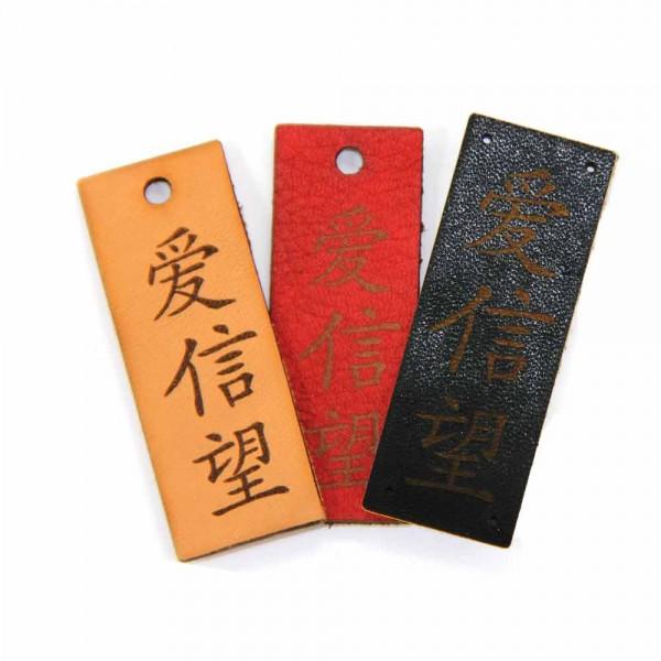 """Lederlabel """"Liebe, Glaube, Hoffnung"""" - chinesisches Zeichen, Label"""