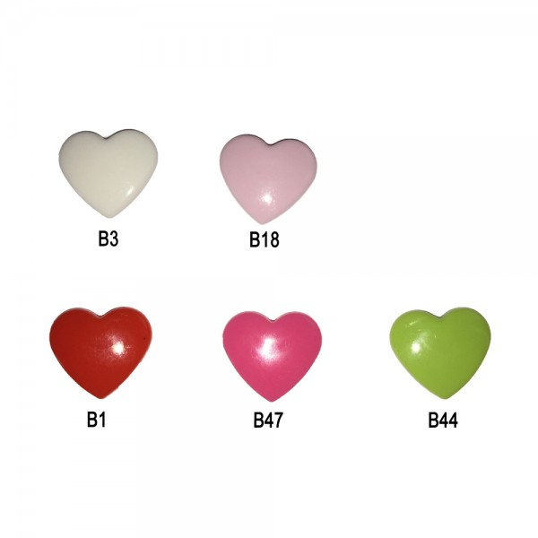 Plastic Snap Fasteners - Heart (Kam Snaps)